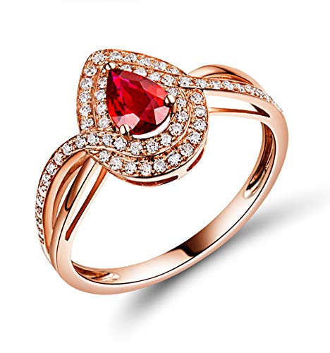 AnazoZ Rose Gold and Red Engagement Ring Women,Rose Gold Rings for Women 18ct 0.518ct Teardrop Ruby 0.25ct Diamond Ring Size R 1/2