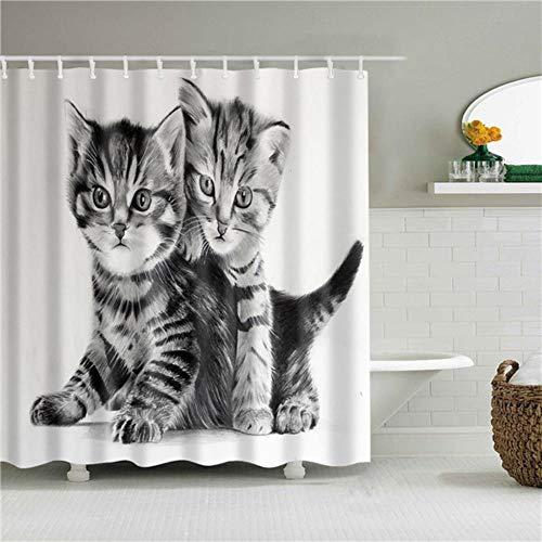 TTYAC Animales de Dibujos Animados Gato Elefante Ciervo Jirafa Cortinas de Ducha Cortina de baño Cortina de baño de poliéster Impermeable con 12 Ganchos