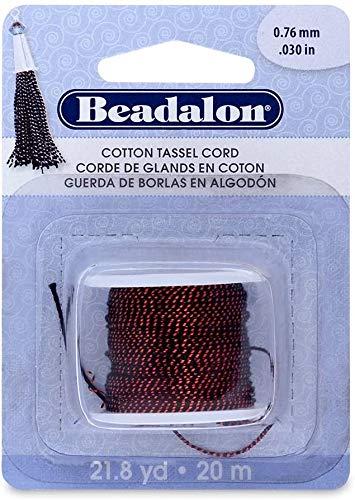 Beadalon Coton Tassel Cord, Métallique Rouge sur Noir