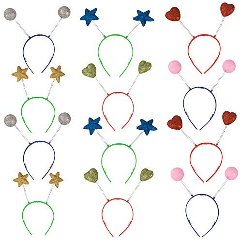 Funny Party Hats Head Boppers in Assorted Design- 12 Piece Party Accessories Blue Gold