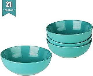 Warebest Stoneware Soup/Cereal Bowls set of 4 (21oz, 4-Piece), Teal Blue Ceramic Rice Bowls
