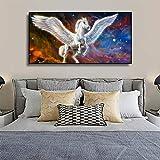 Pintura de pared hermosa de Pegaso y unicornio Fantasía Animales Moderno Cama de niños 60 x 30 cm Póster Obras de arte para hogares Lienzo impresiones