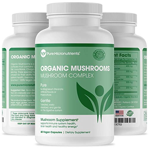 Pure Mushroom Supplement - Immune Booster with Lions Mane, Reishi, Chaga, Cordyceps & Turkey Tail - for Energy, Memory & Focus, Immunity - 60 Vegan, USA Grown