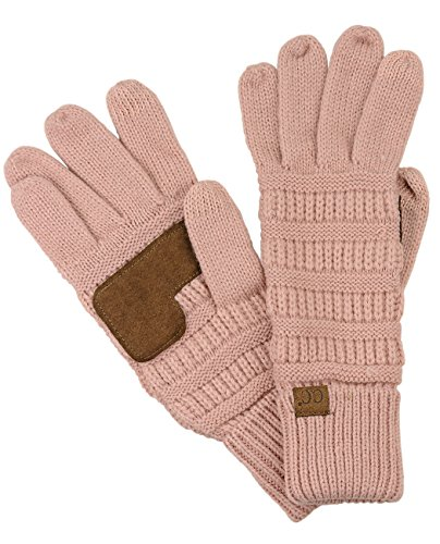 C.C Unisex Cable Knit Winter Warm Anti-Slip Touchscreen Texting Gloves, Rose