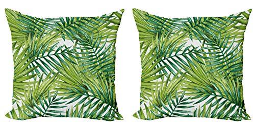 ABAKUHAUS Planta Set de 2 Fundas para Cojín, Ilustración de Color Natural, con Estampado en Ambos Lados con Cremallera, 60 cm x 60 cm, Helecho Verde Verde Lima