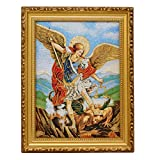 St. Michael Archangel Cushioned Tapestry Picture Frame Wall Art 9' x 11' Cuadro Tela San Miguel