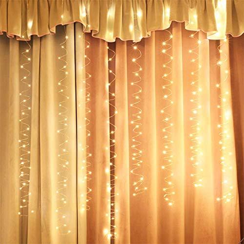 LED Lichtervorhang, goodjinHH USB 3x2M 200 LED 8 Modi Lichterkette Mit Fernbedienung Zimmer Innen Warmweiß Lichterketten Lichter für DIY Weihnachten Deko (A)