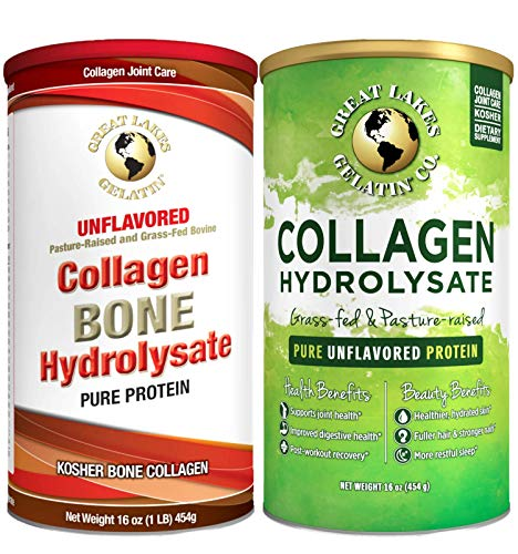Great Lakes Gelatin Kosher Collagen Hydrolysate & Bone Collagen Hydolysate 16 Ounces Cans (Pack of 2) Pasture Raised, Grass Fed, Pure Unflavored Protein Powder