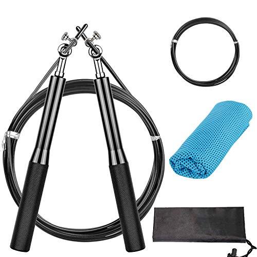 Faminess Springseil Speed Rope Stahl Seil ideal Für Fitness Ausdauer & Abnehmen Crossfit HIIT Intervalltraining & Double Unders