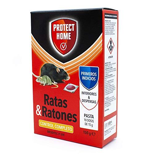 Protect Home Raticida en Pasta de Alta eficacia y atracción, Interior y despensa. Ratas y Ratones, 10 x 15 gr (150gr)