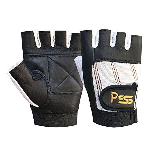 Levantamiento Pesas Acolchado CULTURISMO SILLA DE RUEDAS gimnasio guantes de cuero negro / Blanco Pequeño (S)