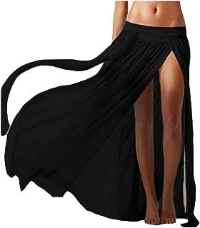 Mujeres Plisado Falda Larga De Playa De Verano De Encubrimiento De Trajes De Baño Negro