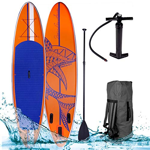 SUP Board Stand up Paddle Paddling Surfboard Shark Orange 320x76x15cm aufblasbar Alu-Paddel Hochdruck-Pumpe Transportrucksack 130KG Tragkraft