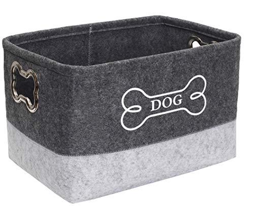 Filz Welpenkorb Mülleimer, Pet Toy Box groß mit Designed Metal Griff - Perfekt für trockene Hundeköstlichkeiten,Spielzeug,Kleidung,Pflegezubehör und Alles,was mit Hunden zu tun hat-Gray/LightGray