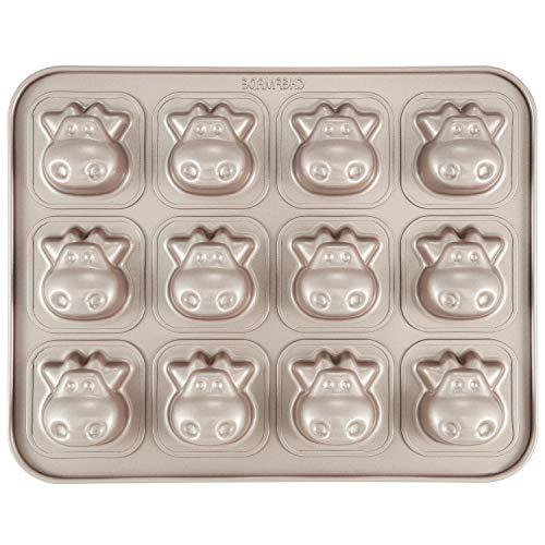CHEFMADE Kühe Kuchen Pan, 12-hohlraum Nicht-Stick Tier Muffin Backformen für Ofen Backen (Champagne Gold)