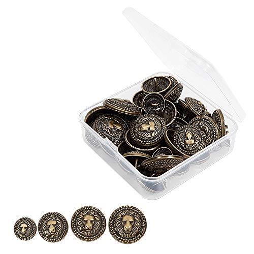 OLYCRAFT 40pz Bottoni per Blazer in Metallo Set Lion Crest Vintage 15mm 20mm 23mm 25mm Bottoni con Gambo per Blazer, Abiti, Cappotto, Uniforme E Giacca - Bronzo Antico