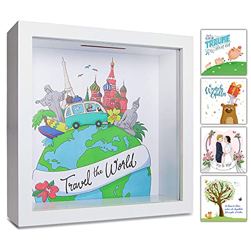 GLÜCKSWOLKE - Hucha Viaje I Travel the World I Huchas originales para Adultos I Huchas de Dinero I Hucha Viajar De Madera I...