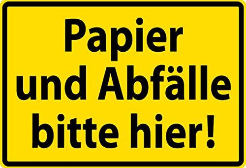 Algemeen blikken bord 30 x 20 cm papier en afval alstublieft hier waarschuwingsbord bord bord