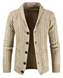 Desconocido Generic Men's Slim Long Sleeve Cable Knit Shawl Collar Button Down Cardigan Sweater Beige L