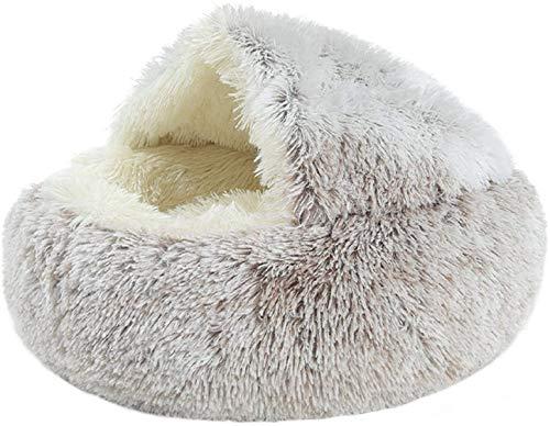 YAOSHUYANG Perro cama Cama de gato, nido de mascotas redondo suave y cómodo, Casa de gato semi cerrada, cómoda tienda de mascotas, diseño de mascotas, diseño de seguridad, para gatos de interior o per