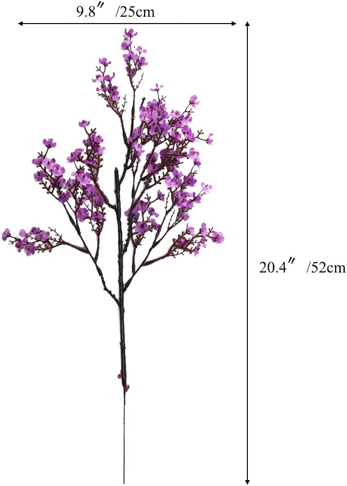 NAHUAA 4PCS Purple Babys Breath Artificial Flowers Fake Silk Real Touch Floral Bouquet Home Office Farmhouse Wedding Centerpiece Arrangements Decor for Vase