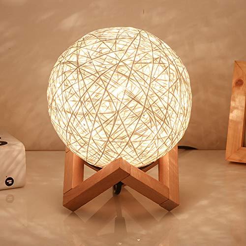 LMCXWD Rattan Ball Nachtlicht LED Licht dimmbar Schreibtisch Tischlampe Geschenk für Schlafzimmer Nacht Weihnachtsfeier Hochzeit Mond Lampe