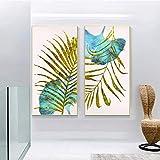 Carteles de plantas doradas de hoja de palma, pintura en lienzo, imágenes de lujo ligeras, arte de pared para sala de estar, sofá, decoración moderna para el hogar, 30x60 cm-2 piezas sin marco