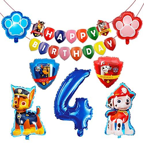 HONGECB Globos de Patrulla Canina, Decoración Cumpleaños Patrulla Canina, Banner de Happy Birthday, Numeros 4 Decoracion, Dog Birthday Party Foil Balloons for Kids Gift Fiesta, 9 Piezas