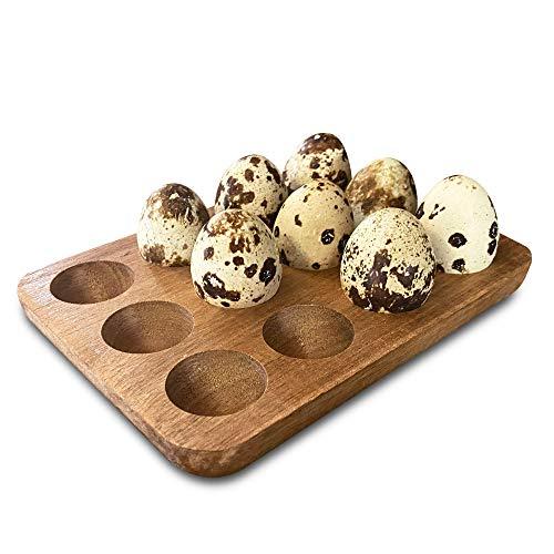 Farmssentials Wood Quail Egg Carton - Wooden Quail Egg Tray For Holding 12 Small Eggs