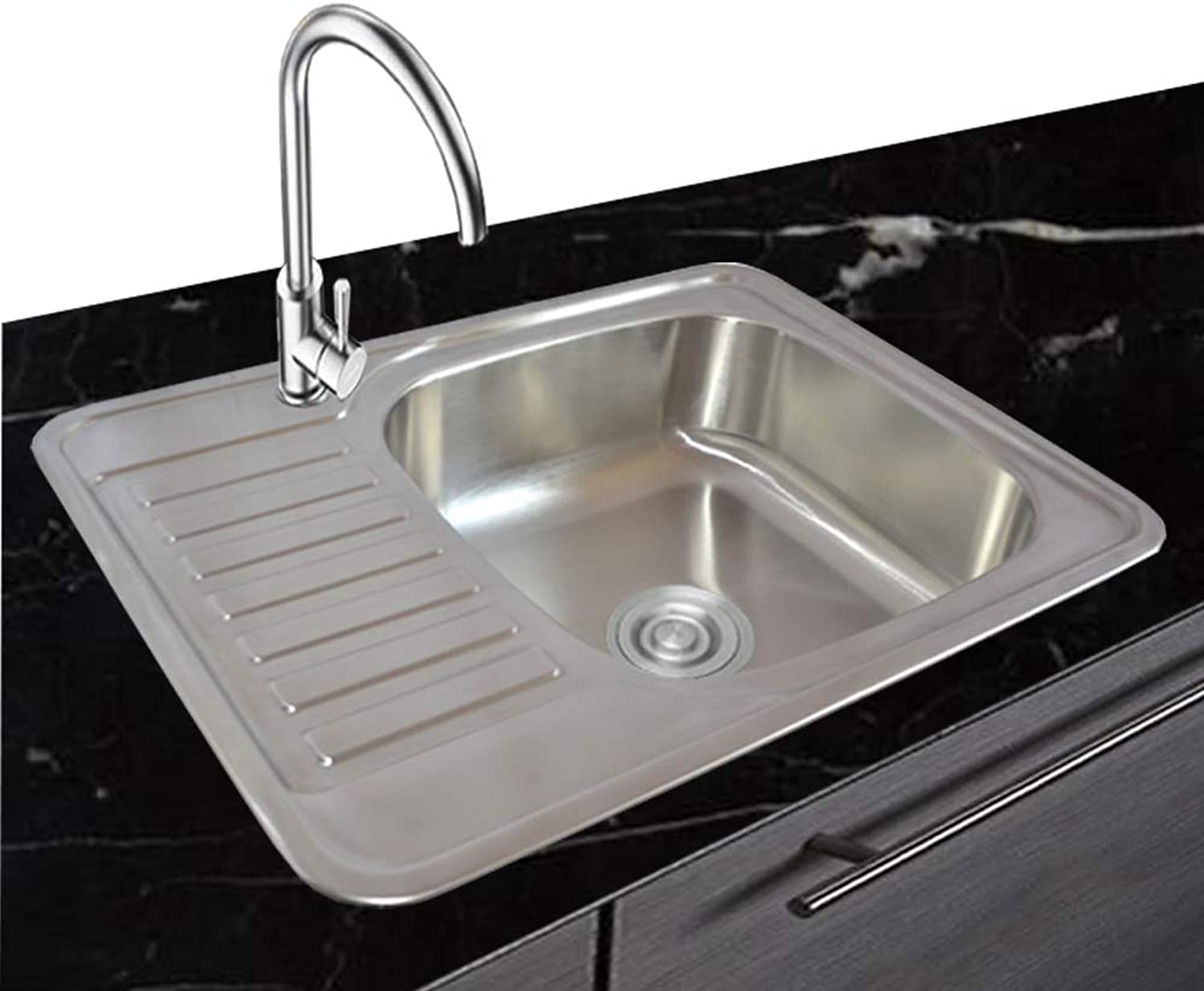 1 x Stainless Steel 304 Square, 1 Basin with Shelf and Drainage Panel, 65 cm, 50 cm B.