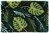 Vervaco–Alfombra de esmirna Hojas Nudos, algodón, Multicolor, 70x 45x 0,3cm