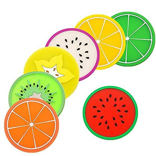 CandyT Posavasos con Forma de Fruta Estera de Taza de Silicona Creativo Lindo Antideslizante Aislamiento térmico Juego de Cubiertos antiescarcha de 7 Posavasos