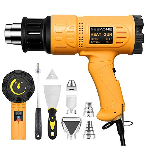 Heat Gun, SEEKONE Professional 2000W 50℃- 600℃ Variable Temperature Control Hot Air Gun Kit with...