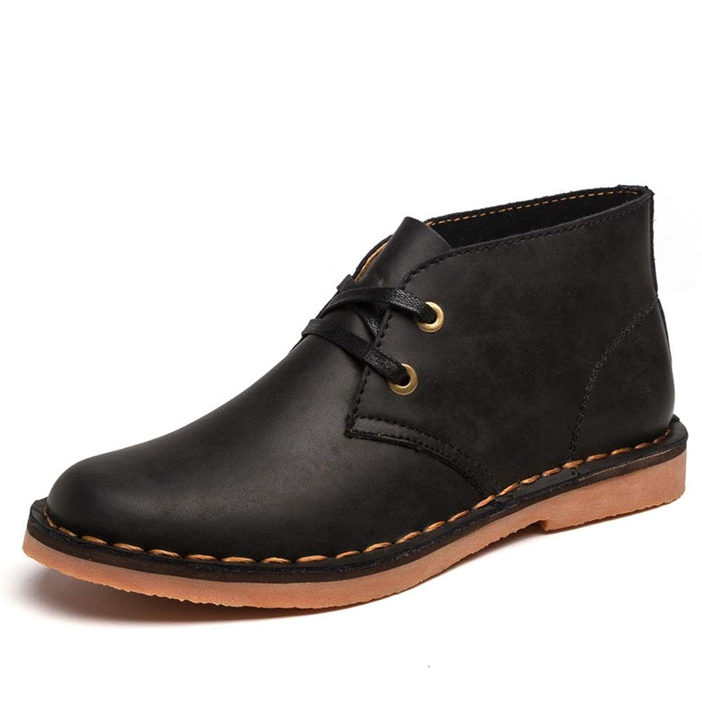 Sunny&Baby 男性の足首の靴本革レースアップアンチスリップカジュアル防水のための英国のファッションチャッカブーツ 耐摩耗性 (Color : ブラック, サイズ : 26 CM)