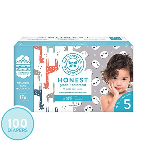 The Honest Company Super Club Box Diapers - Size 5 - Pandas & Safari Print   TrueAbsorb Technology   Plant-Derived Materials   Hypoallergenic   100 Count