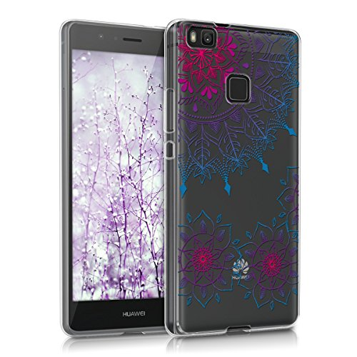 kwmobile Custodia Compatibile con Huawei P9 Lite - Cover Silicone TPU - Protezione Back Case - Art Mandala Fucsia/Blu/Trasparente
