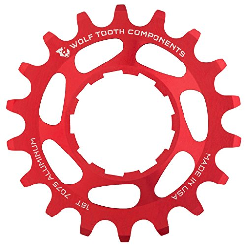 Wolf Tooth CNC Machined Aluminum Singlespeed Cogs in Colors (Red, 20t)