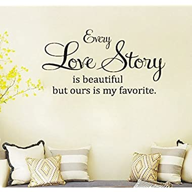 Dailinming PVC Wall Stickers English EVERY LOVE STORY bedroom home decorate the living room can be removedWallpaper104.1cm x55.9cm-Black