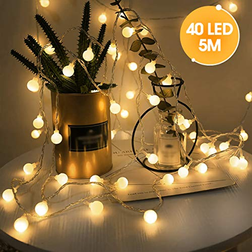 LOHAS LED Lichterketten, 5 Meters mit 40 LEDs, Warmweiß, Globe Lichterketten, IP42, USB Stecker, Dekorative Lichterketten für den Innenbereich, Party, Hochzeits, Weihnachts, 1er Pack
