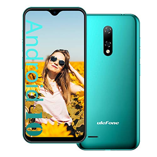 Ulefone Note 8 Unlocked Smartphone, Android 10 Quad-core 2GB+16GB Expansion 128GB, 5.5 Inch Waterdrop Screen, 5MP+2MP+2MP Camera, 2700mAh Battery 3G Dual SIM Unlocked Phone, GPS, Face ID