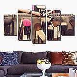 DGGDVP Pintura Modular Lienzo Arte de la Pared Imagen Decoración del hogar Sala de Estar Impresión en Lienzo Maquillaje Moderno Pincel Poster 5 Panel/Set Tamaño 1 Sin Marco