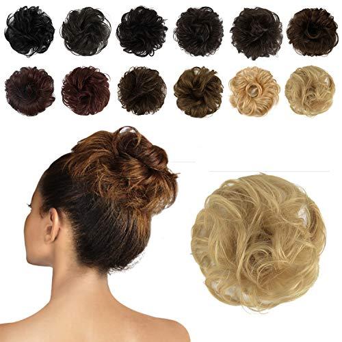 FESHFEN 100% Chignon Capelli Veri, coda capelli veri mossi ricci elastico con capelli chignon facile per capelli extension chignon da donna ragazze ciambella updo parrucchino