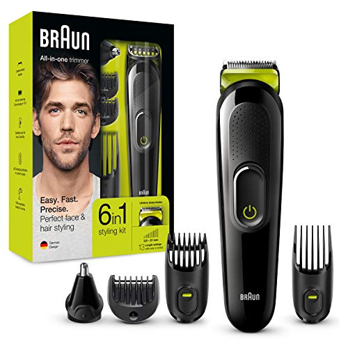 Braun 6-in-1 Multi-Grooming-Kit MGK3021, Barttrimmer, Ohren- und Nasenhaartrimmer, lebenslang scharfe Klingen, schwarz/grün