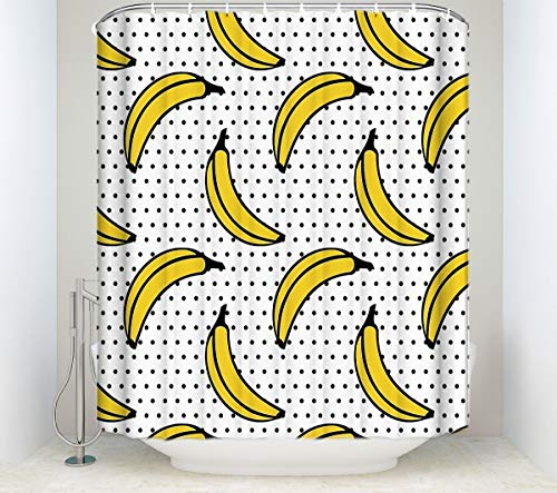 YEDL Cortina de Ducha de plátano Amarillo de Frutas Tela de poliéster Tela de baño de Lunares a Prueba de Agua Cortinas de 180 × 180 cm