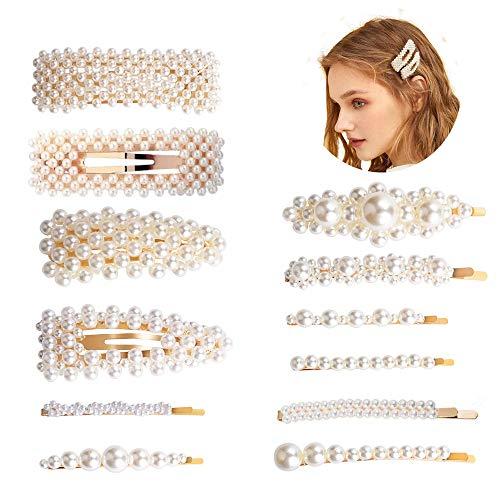 12 Stücke Künstliche Perlen Haarspangen für Mädchen, Mode Eleganz Haar Snap Clips Perle Haarnadeln Haarklammern Haarspangen Für Hochzeit Valentinstag Geschenke