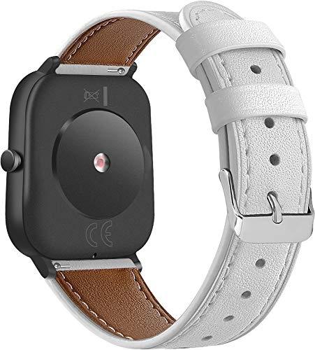 Chainfo Correa de Reloj Compatible con Garmin Venu/Venu SQ/Venu Sq Music/Approach S40 / Vivomove HR Sport, Cross Piel Correa/Banda/Pulsera/Reemplazo (20mm, Pattern 3)