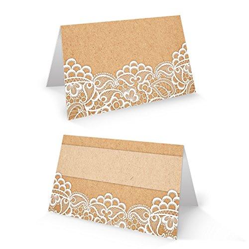 100 Stück kleine weiß beige creme natur vintage Tischkarten SPITZE Kraftpapier Optik - Namensschilder Namenkärtchen Tischdeko Hochzeit Taufe Kommunion Geburtstag shabby chic Jubiläum