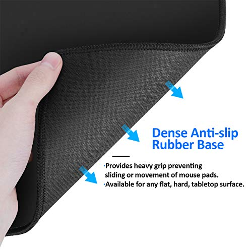 JIKIOU 3 Pack Mouse Pad with Stitched Edge, Mouse Pad with Non-Slip Rubber Base, Washable Mousepads Bulk with Lycra Cloth, Comfortable Mouse Pads 10.2x8.3x0.12inch Black Photo #7