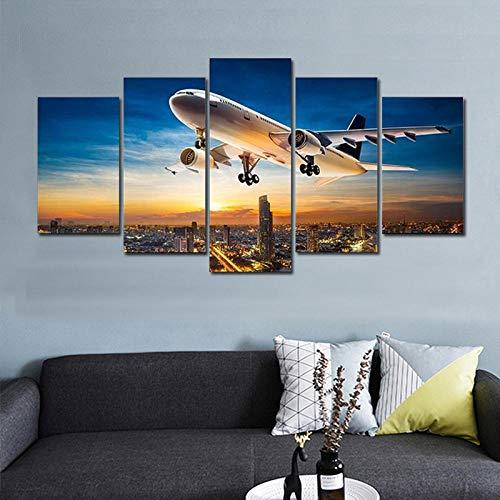 HNSYZS HD Pintura 5 Pintura de Pared Cielo Puesta de Sol Aeropuerto avión avión de pasajeros Paisaje de Pared diseño artísticos para Interiores