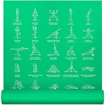 "NewMe Fitness Instructional Yoga Mat, Green, Printed w/ 70 Illustrated Poses, 24"" Wide x 68"" Long, for Women & Men : Non Slip, Eco Friendly PVC, Non Toxic : for Home or Gym : 5mm Thick"